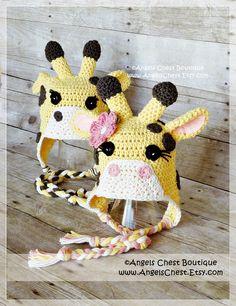 CUTE GIRAFFE Crochet Hat Earflap Pattern Size by AngelsChest, $6.99