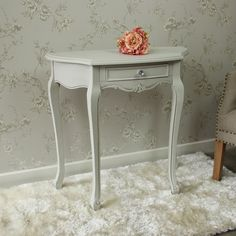 Ornate Distressed Grey Painted one Drawer half moon console Table. Elise Grey Range - Half Moon Console Table. I personally take the most pleasure in sourcing and adding new lines to this website. At Flora Furniture, we hope you will agree we have lots of beautiful things!   eBay!