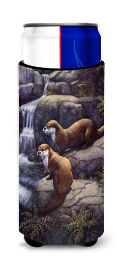 Otters by the Waterfall by Daphne Baxter Ultra Beverage Insulators for slim cans BDBA0293MUK