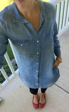 denim shirt dress, l