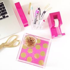 Hot pink and gold office supplies from @chicfetti