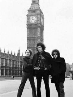 The Jimi Hendrix Experience At Big Ben, Palace Of Westminster, London, England, 1968, Photographic Print By Charles Sanders