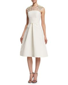 """Pamella Roland taffeta dress with embellished yoke. Approx. length: 41.5""""L down center back. Jewel neckline; keyhole at back. Sleeveless; full shoulder coverage. Fit-and-flare silhouette. Side seam po"""