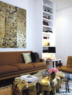Sasha Adler + Lauren Gold living room - brown sofa with white walls