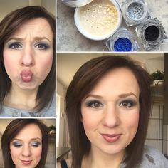 Mineral pigments, eyeshadows, blue, gray and black, with minerals concealer