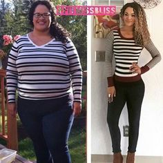 """Tag a Friend You Want to Help Motivate  Want to Make a Transformation Like This? Check bio for our Five Star 90-day Transformation Program!  """"This is an absolutely wild comparison photo! With my hair curly and a striped sweater on the difference is unreal! I'm still surprised that the girl on the right is me. I truly am. I'm SO happy she's me- but it's still all a bit shocking to be honest. After discovering that blog and reading all the comments people were saying about me I nearly quit. I…"""