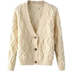 Women's Casual Cable Knitted Long Sleeve Button Cardigan Sweater (32 NZD) ❤ liked on Polyvore featuring tops, cardigans, jackets, outerwear, sweaters, brown cardigan, cable knit cardigan, long sleeve tops, cable cardigans and button cardigan