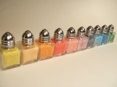 Colored sugar shakers...what a really good idea!
