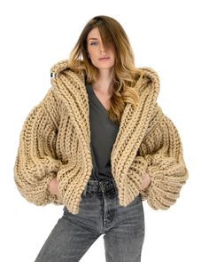 """The """"Bomber"""" is our authentic handmade knitted, short jacket. A chunky, ribbed cardigan with a saggy hood to protect you from the au Crochet Coat, Knitted Coat, Hand Knitted Sweaters, Crochet Clothes, Chunky Cardigan, Knit Cardigan, Big Knits, Knitwear Fashion, Knitting Designs"""