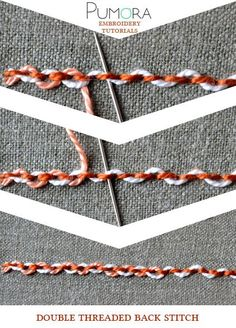 Embroidery Tutorials double threaded back stitch tutorial - Learn how to embroider with the lexicon of embroidery stitches. Step by step tutorials on how to do the back stitch and it's variations. Silk Ribbon Embroidery, Crewel Embroidery, Embroidery Applique, Cross Stitch Embroidery, Embroidery Patterns, Stitch Patterns, Embroidery Stitches Tutorial, Sewing Stitches, Embroidery Techniques