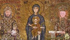 Teotokos entre Juan II y la emperatriz Irene - Mosaico de la iglesia - Iglesia de Santa Sofía de Estambul