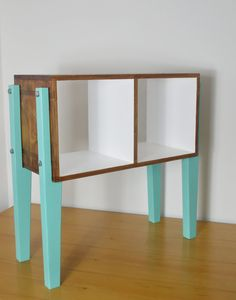 Reclaimed Wood Cabinet, Vinyl Storage Unit, Funky Retro Side Table, Walnut Open Shelving, Plywood Turntable Stand