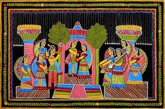 Marriage Ceremony - Wall Hanging - Folk Art Paintings (Tikuli Painting on Hardboard) Madhubani Art, Madhubani Painting, Pattern Art, Art Patterns, Rajasthani Painting, Clay Wall Art, Wedding Motifs, Indian Folk Art, Indian Art Paintings
