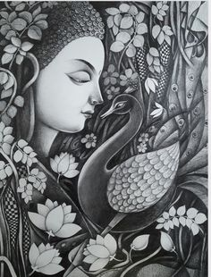 Buy Buddha With Nature Painting at Lowest Price by Sanjay Tandekar Dark Art Drawings, Pencil Art Drawings, Art Drawings Sketches, Ink Illustrations, Indian Art Paintings, Nature Paintings, Buddha Artwork, Indian Art Gallery, Indian Folk Art