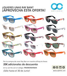 ¿Estabas pensando en comprarte unas Ray-Ban  Desde ahora mismo en nuestra  web www.optichic.com por la compra de unas gafas de sol Ray Ban te llevas  20€ de ... 955129f980