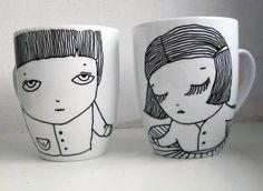 Romantiškas puodelis su Ievos iliustracijomis - ceramics from Lithuania
