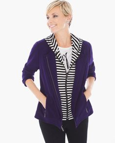 Chico's Women's Zenergy Valerie Stripe Inset Jacket