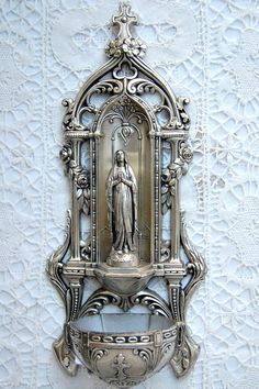 Large vintage French Holy Water font Benitier, very ornate and exquisitely detailed