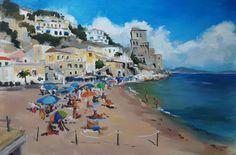 'F beach' 70cm x 90cm acrylic on board by Angela Corben