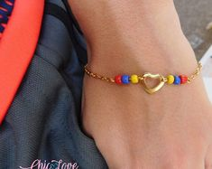 👀We can make them with the colors of the flag of other countries. Pulsera de Colombia, Colombian Bracelet, Bracelet, Flag of Colombia Bracelet Bohemian Bracelets, Beaded Bracelets, Colombia Flag, Small Heart, Best Gifts, Handmade Jewelry, Etsy, Beautiful, Style