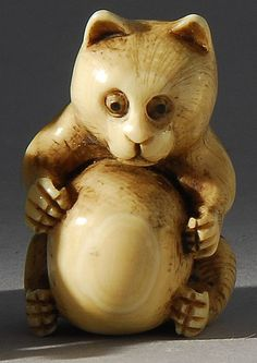 Lot 216: IVORY NETSUKE In the form of a badger with inlaid eyes. Signed. - Eldred's | Invaluable