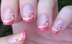 Nail Designs for Valentines Day Luxury French Manicure Ideas 4 Valentine S Day P. - Nail Designs for Valentines Day Luxury French Manicure Ideas 4 Valentine S Day Pink Tip Nails - Pink Tip Nails, French Tip Nails, Fancy Nails, Trendy Nails, My Nails, French Manicures, Sparkle Nails, Glitter Nails, French Pedicure