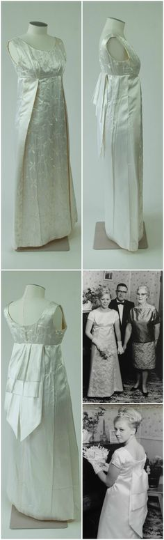 Debutante dress with short train, designed and made by Maria Beggley, 1966. Mary Hayes wore this evening gown to her debutante ball, the Napier Charity Ball, in June 1966. Hayes can be seen wearing the dress in the accompanying black-and-white photos from 1966 (the group portrait shows her with her parents, Olive and Jim Hayes). Collection of New Zealand Fashion Museum. CLICK FOR VERY LARGE IMAGES.