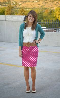 Pink with white polka dots, cream blouse, teal cardigan. Love this color combo
