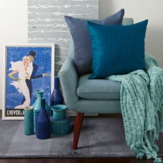 I would like the living room to be multiple shades of blue so that I'm not doing a lot of color matching