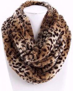 Cheetah faux fur neck warmer infinity scarf