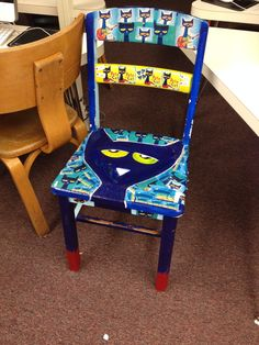 Hand painted Pete the Cat Chair