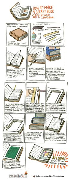 How to make a super secret book safe. My only problem with this is that it destroys a book!