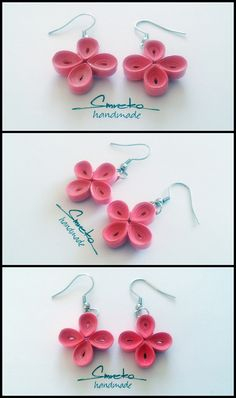 Paper quilling dangle earrings