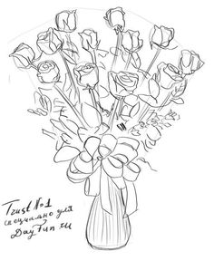 How to draw a bouquet of roses step by step 5