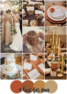 Burnt Orange, Copper and Gold Elegant Fall Wedding Colour Scheme - Autumn - Fall Weddings - Wedding Colours - A Hue For Two | www.ahuefortwo.com