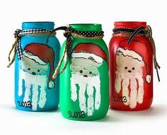 DIY Christmas Mason Jar with Santa Handprint