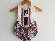 SIZE 0-3 months/ Festive Baby Girl Romper/Boho Chic Romper/ Baby Clothes/Pom…