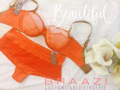 44a0582c0d Bright and beautiful autumn orange bra and hipster panty set.  lingerie   design