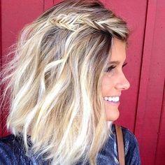 Messy Fishtail Braid Hairstyle for Medium Length Hair