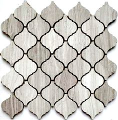 Discount Glass Tile Store - Stone Arabesque Tile - Wooden White Marble $15.29 sq.ft 12x12 Mosaic Mesh Mount Sheet, $15.29 (http://www.discountglasstilestore.com/stone-arabesque-tile-wooden-white-marble-15-29-sq-ft-12x12-mosaic-mesh-mount-sheet/?page_context=category