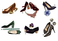 Velvet Pumps paired with evokative Jewels / The Editorialite