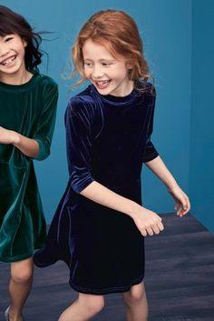 A cheeky velvet swing dress for those little party girls!