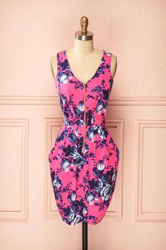 Doroteja - Neon pink floral print dress