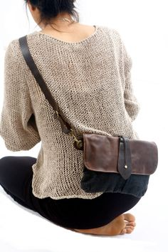 Black Big Leather and Canvas Hip Bag - Fanny Pack - Traveler Bag - Utility Hip Belt - Hip Pouch -cross body