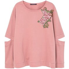 Floral Embroidered Sweatshirt (£50) ❤ liked on Polyvore featuring tops, hoodies, sweatshirts, round neck sweatshirt, sequin tops, sequined sweatshirts, embellished long sleeve top and slit tops