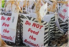 """by Loralee Lewis """"Do not feed the animals"""" favor bags Safari theme birthday party First Birthday Party Favor, Safari Theme Birthday, Jungle Theme Parties, Safari Birthday Party, Jungle Party, 3rd Birthday Parties, Birthday Ideas, Ciara Birthday, Monkey Birthday"""