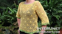 How to crochet a raglan sleeve sweater using pineapple stitch - Part 1 of 3