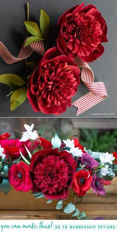 Watch my live video tutorial to learn how to make this beautiful crepe paper red charm peony for fall centerpieces, wedding bouquets, and more. Mason Jar Crafts, Mason Jar Diy, Crafts To Make And Sell Unique, Christmas Crafts To Sell, Origami, Construction Paper Crafts, Crepe Paper Flowers, Do It Yourself Home, Faux Flowers