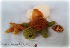 Baby Sea Turtle with Shell CROCHET PATTERN PDF