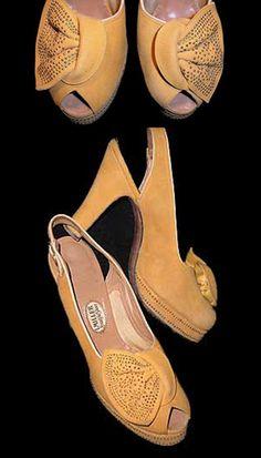 1940s I.Miller Studded Suede Platforms